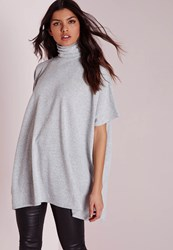 Missguided Roll Neck Short Sleeve Tunic Grey Grey