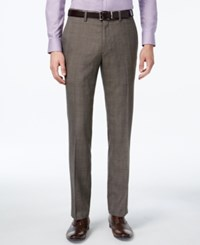 Kenneth Cole Reaction Men's Slim Fit Brown Glen Plaid Dress Pants Chocolate