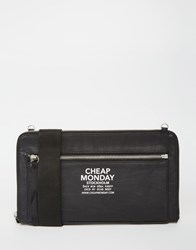 Cheap Monday Zipper Clutch Bag With Detachable Shoulder Strap Black