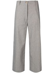 Semicouture Cropped Wide Leg Trousers Neutrals