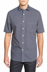 Men's Nordstrom Men's Shop Regular Fit Windowpane Short Sleeve Sport Shirt Navy Peacoat Windowpane