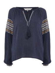 Part Two Embroidered Tassle Long Sleeve Blouse Navy