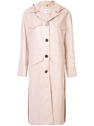 Nanushka Hooded Duster Coat Pink
