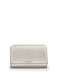 Christian Louboutin Paloma Spike Embellished Leather Clutch Silver