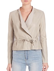 Set Leather Tie Front Jacket Taupe