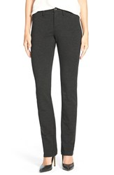 Petite Women's Nydj Five Pocket Stretch Ponte Skinny Pants Charcoal