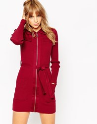 Asos Knit Shirt Dress With Woven Details And Zip Front Darkred