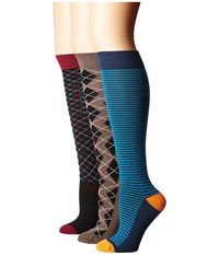 Old West Boots Knee Riding Socks 3 Pack Black Light Blue Charcoal Grey Burgundy Women's Knee High Socks Shoes Multi