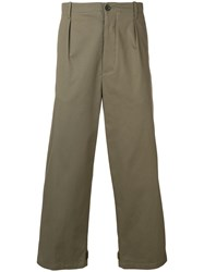 Les Hommes Loose Fit Straight Trousers Green