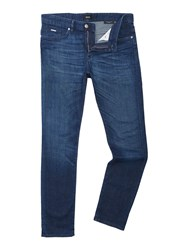 Hugo Boss Men's Delaware Slim Fit Mid Used Jeans Denim Mid Wash