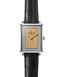 Gomelsky By Shinola Shirley 32Mm Alligator Strap Watch With Diamonds Black Golden