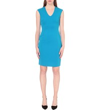 Reiss Jamie Fitted Stretch Crepe Dress Peacock Blue