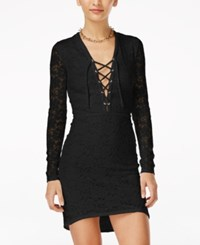 Material Girl Juniors' Long Sleeve Lace Up Bodycon Dress Only At Macy's Black