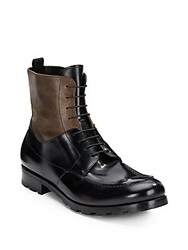 Giorgio Armani Colorblock Leather Lace Up Boots Black