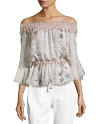 Elie Tahari Zoia Off The Shoulder Floral Blouse Multi
