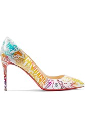 Christian Louboutin Pigalle Follies 85 Printed Leather Pumps White