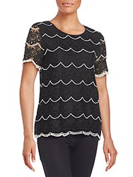 Romeo And Juliet Couture Scalloped Lace Tee Black White