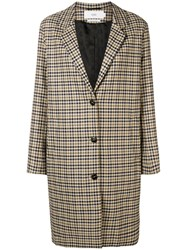 Closed Checked Button Coat Nude And Neutrals