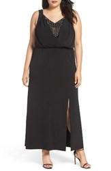 London Times Plus Size Women's Contrast Underlay Jersey Maxi Dress