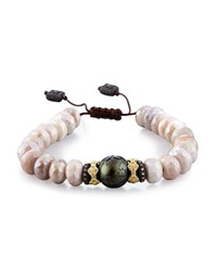 Armenta Old World Mystic Moonstone Bead And Carved Tahitian Pearl Bracelet With Diamonds
