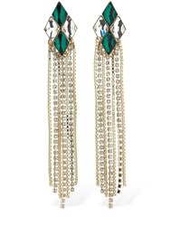 Anton Heunis Omega Diamond Cascade Earrings Green