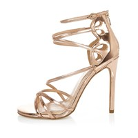 River Island Womens Rose Gold Tone Wide Fit Strappy Sandals