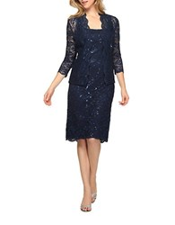 Alex Evenings Tea Length Dress And Jacket Set Navy