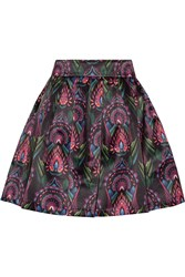 Alice Olivia Stora Printed Satin Mini Skirt Black