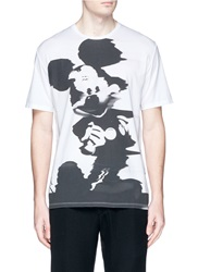Neil Barrett Mickey Mouse Blur Print T Shirt White