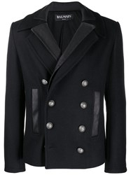 Balmain Two Collar Double Breasted Coat Blue
