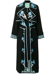Yuliya Magdych Opium Embroidered Wrap Dress Wool S Black