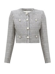Alessandra Rich Crystal Button Sequinned Houndstooth Jacket Black White