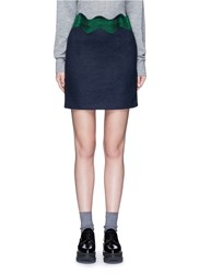 Toga Archives Embroidered Wavy Trim Wool Mini Skirt Multi Colour Blue