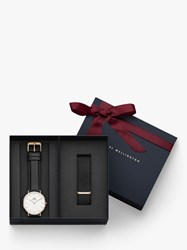 Daniel Wellington Dw00500002 'S Leather Strap And Extra Strap Watch Gift Set Black White