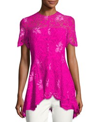 Lela Rose Short Sleeve Lace High Low Top Fuchsia