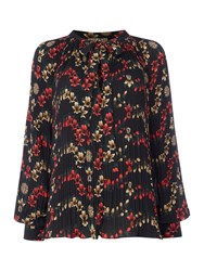 Biba Pleated Printed Volume Blouse Multi Coloured
