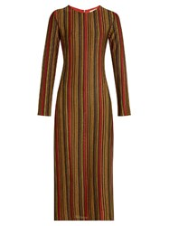 Marco De Vincenzo Metallic Stripes Round Neck Midi Dress Multi
