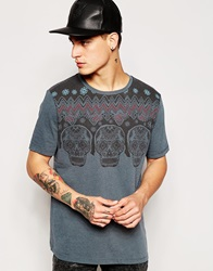 Asos T Shirt With Aztec Yoke Print And Relaxed Skater Blue