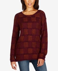 Lucky Brand Plaid Sweater Red Multi