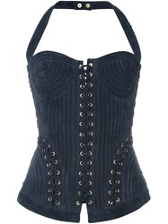 Balmain Lace Up Bustier Top Blue