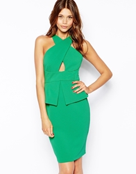 Vesper Sexy Pencil Dress With Cross Front Green
