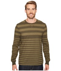 Prana Setu Crew Cargo Green Stripe Men's Long Sleeve Pullover