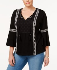Style And Co Plus Size Lace Trim Peasant Top Only At Macy's Ditsy Black