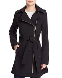 Via Spiga Asymmetric Front Belted Trench Coat Black