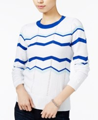 Maison Jules Chevron Sweater Only At Macy's Bright White Combo