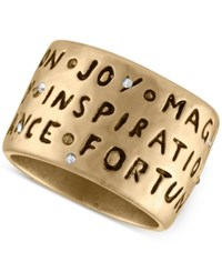 Rachel Roy Gold Tone Etched Inspirational Ring