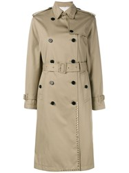 Valentino 'Rockstud' Trench Coat Nude And Neutrals