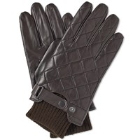 Barbour Quilted Leather Glove Brown