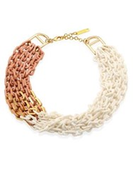 Lafayette 148 New York Multi Strand Link Necklace Oat Multi