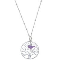 Martick Tree Of Life Pendant Necklace Purple Silver